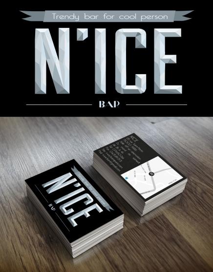 Création d'Indentité visuelle pour le N'Ice Bar , Bar en Glace (Projet Fictif)
